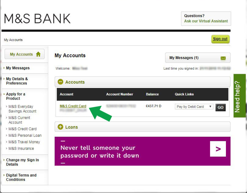 Activating Your Credit Card Via Internet Banking M S Bank Homepage