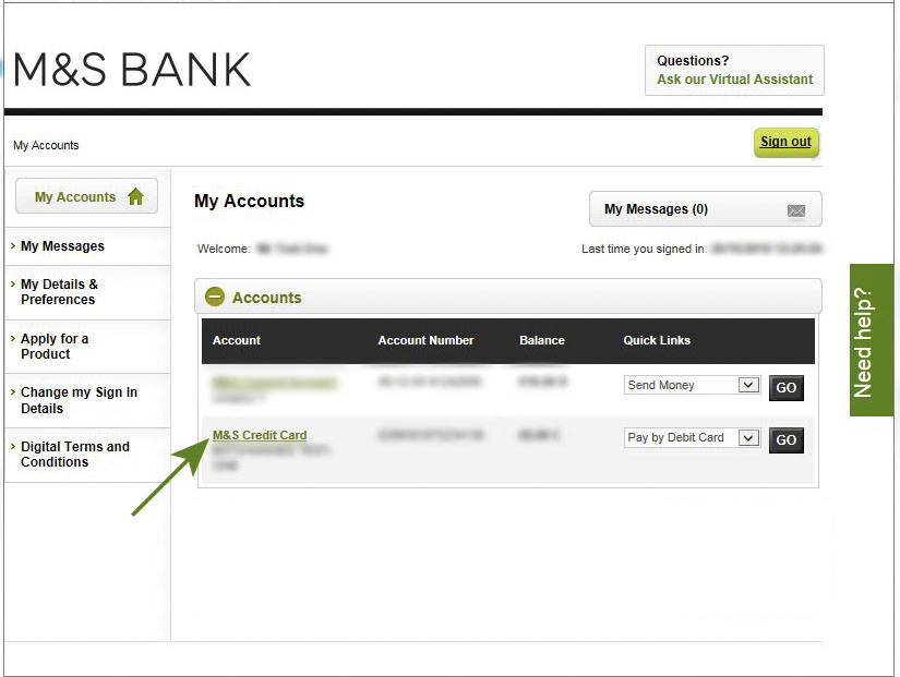 M&S Bank Homepage