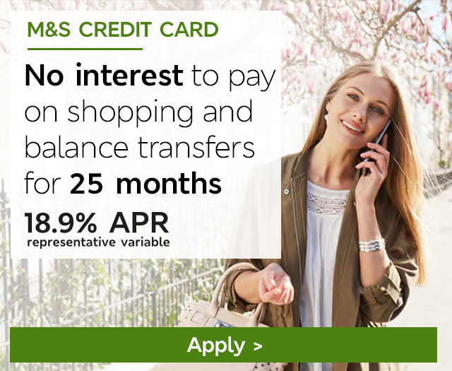 No interest to pay on shopping and balance transfers for 25 months. 18.9% APR representative variable - Apply